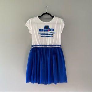Disney Parks R2D2 Dress Blue Tulle Short Sleeve XL